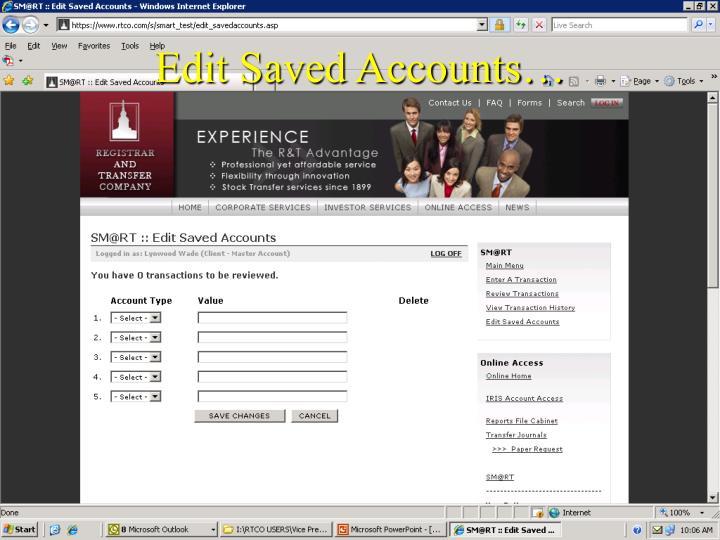 Edit Saved Accounts…