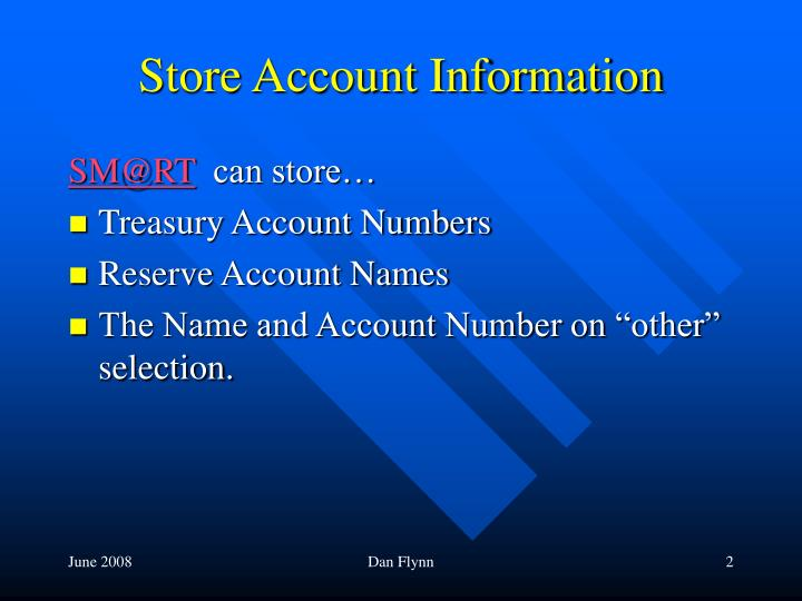 Store account information