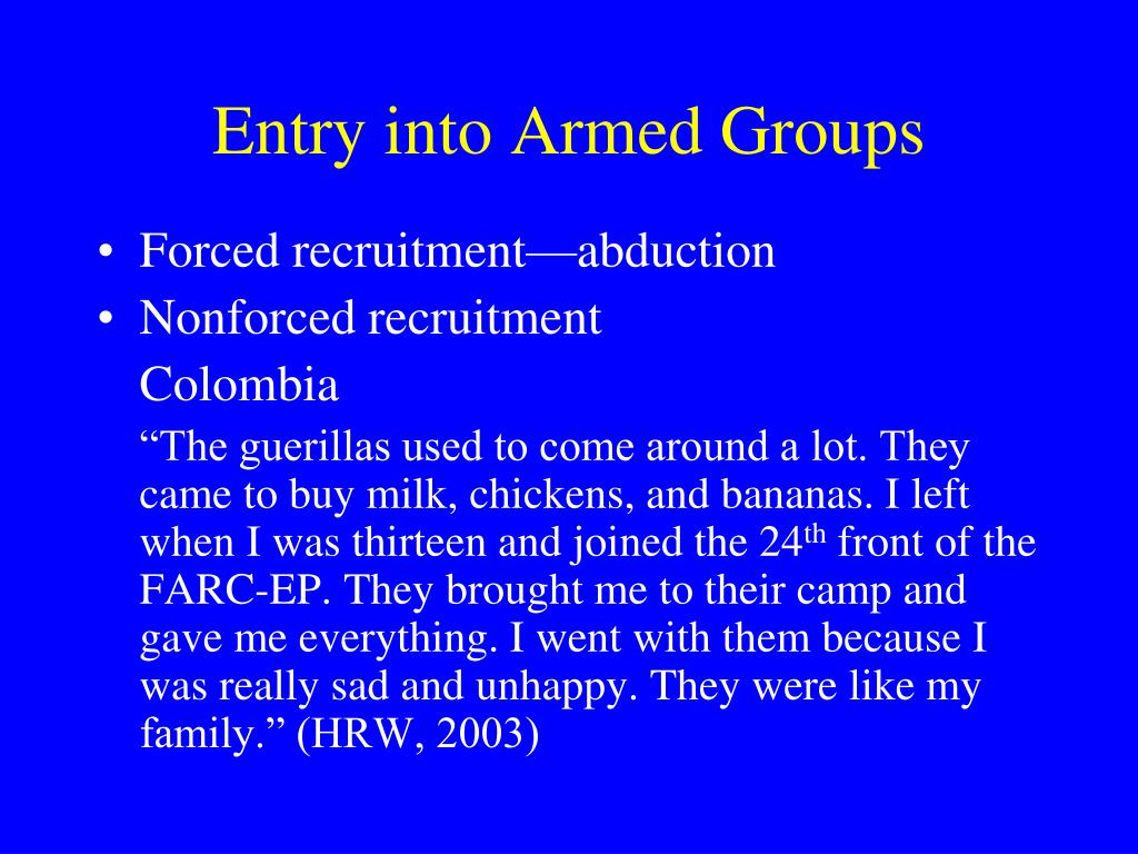Entry into Armed Groups