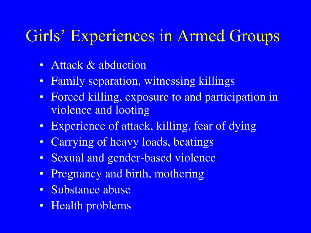 Girls' Experiences in Armed Groups