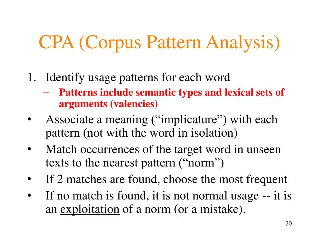 CPA (Corpus Pattern Analysis)