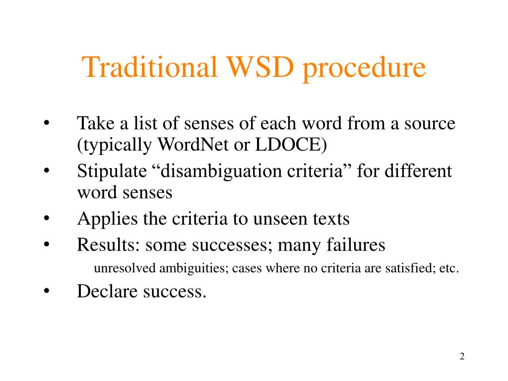 Traditional WSD procedure