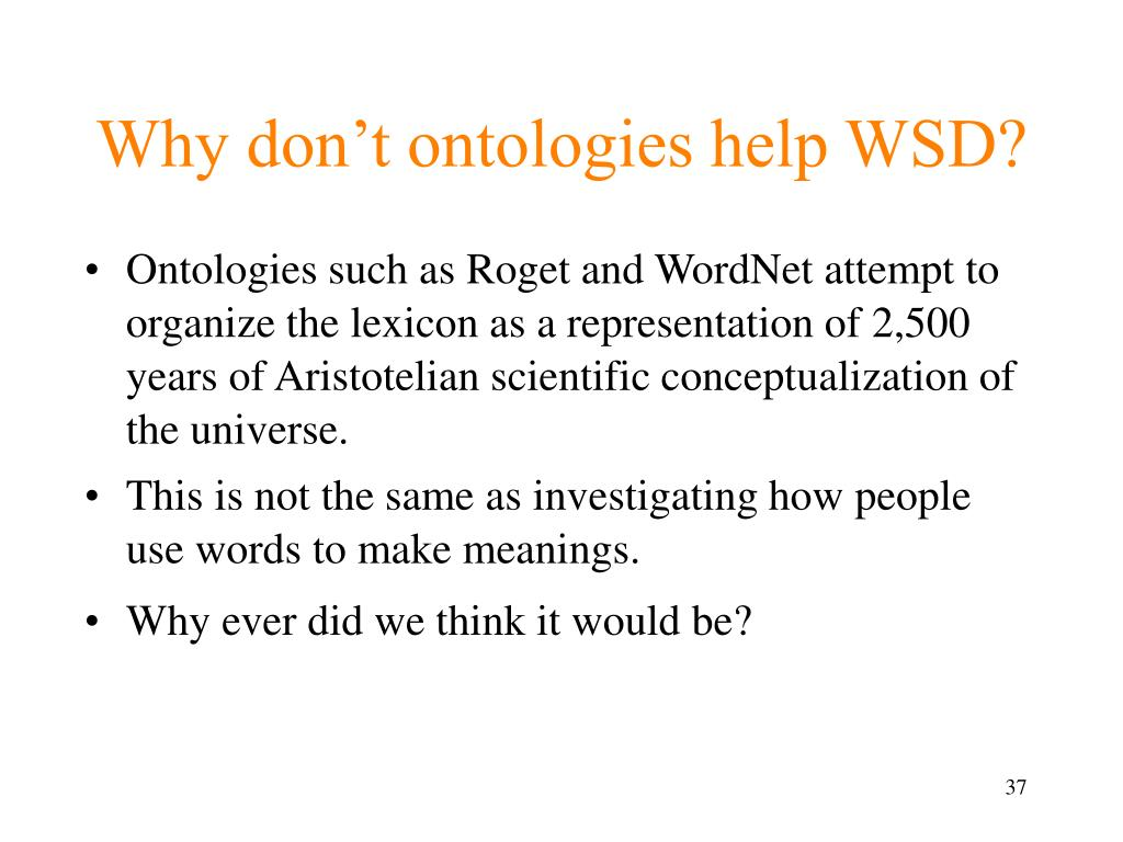 Why don't ontologies help WSD?