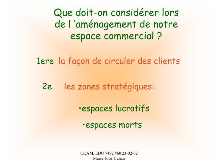 Que doit-on considérer lors de l'aménagement de notre espace commercial ?