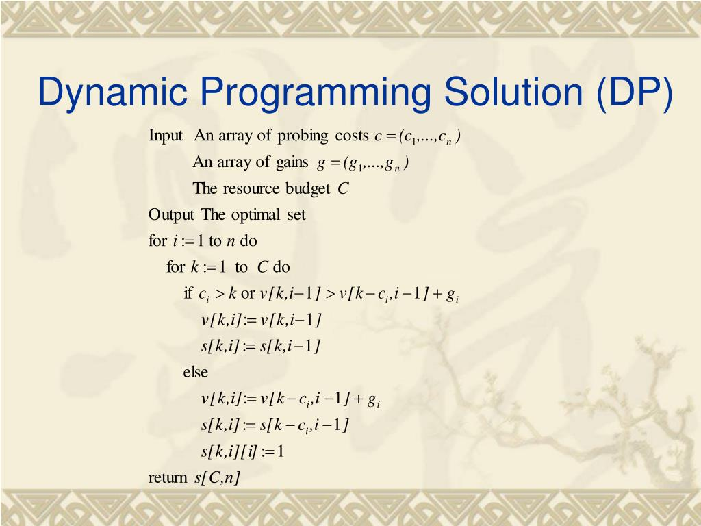 Dynamic Programming Solution (DP)
