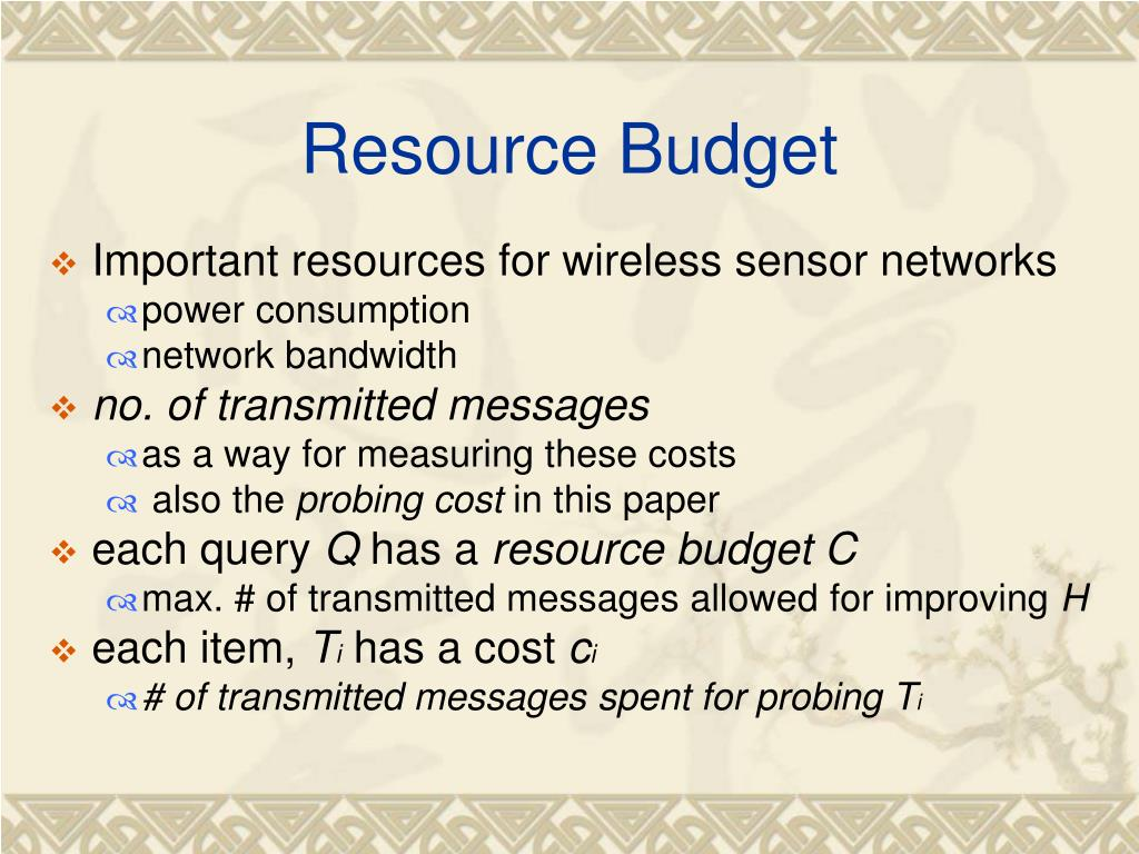 Resource Budget