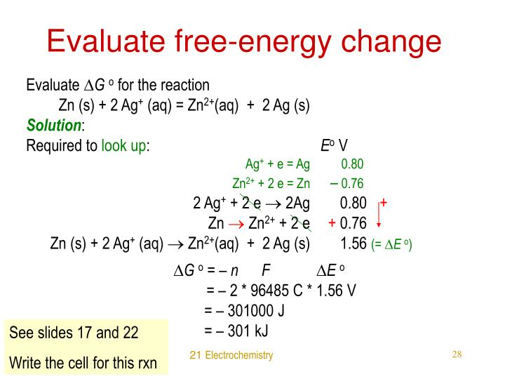 Evaluate free-energy change