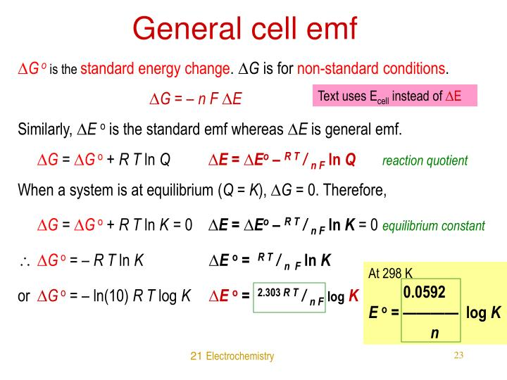 General cell emf
