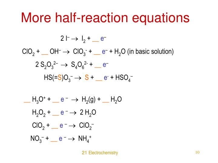 More half-reaction equations