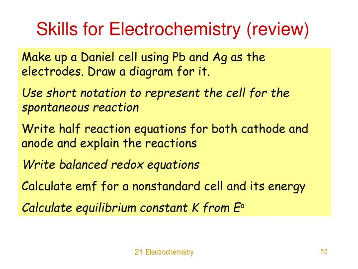 Skills for Electrochemistry (review)