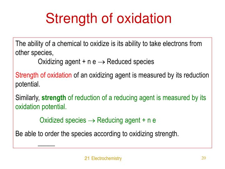 Strength of oxidation