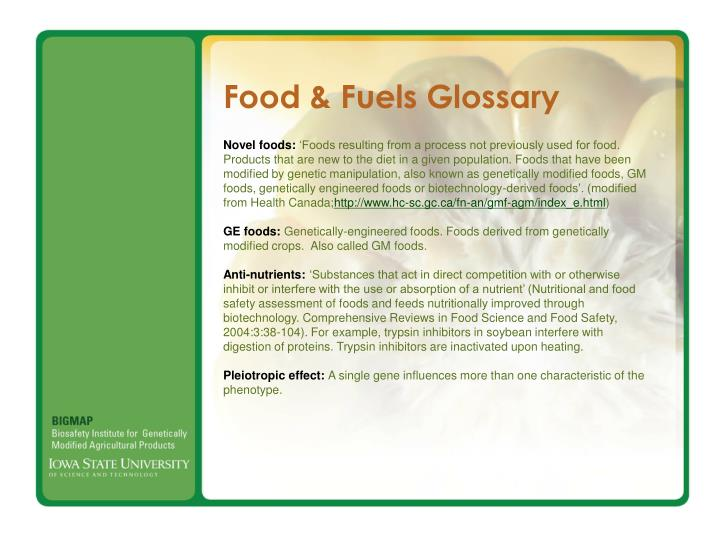 Food & Fuels Glossary