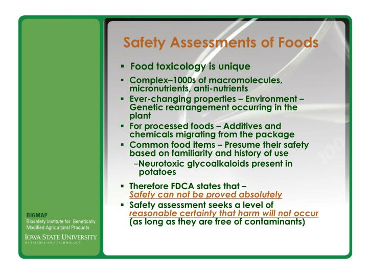 Food toxicology is unique