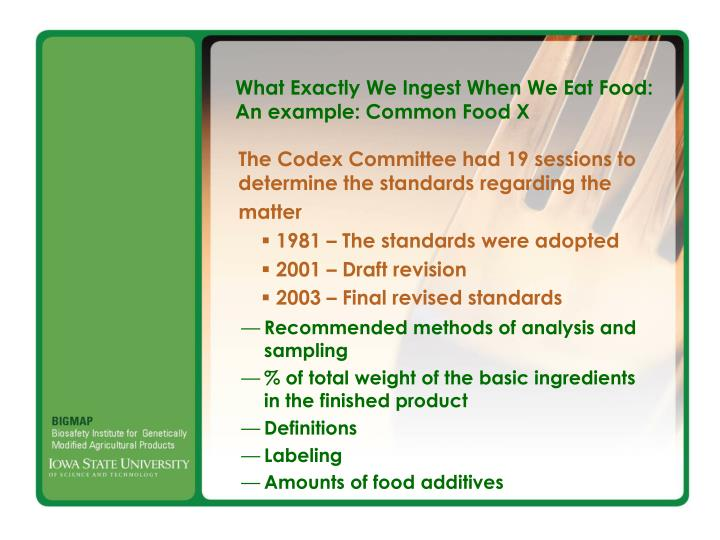 What Exactly We Ingest When We Eat Food: An example: Common Food X