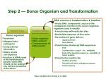 step 2 donor organism and transformation