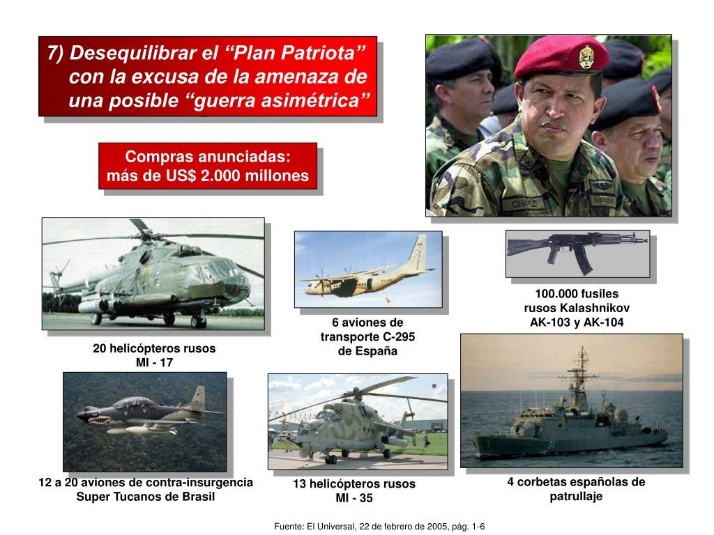 """7) Desequilibrar el """"Plan Patriota"""""""