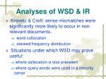 analyses of wsd ir