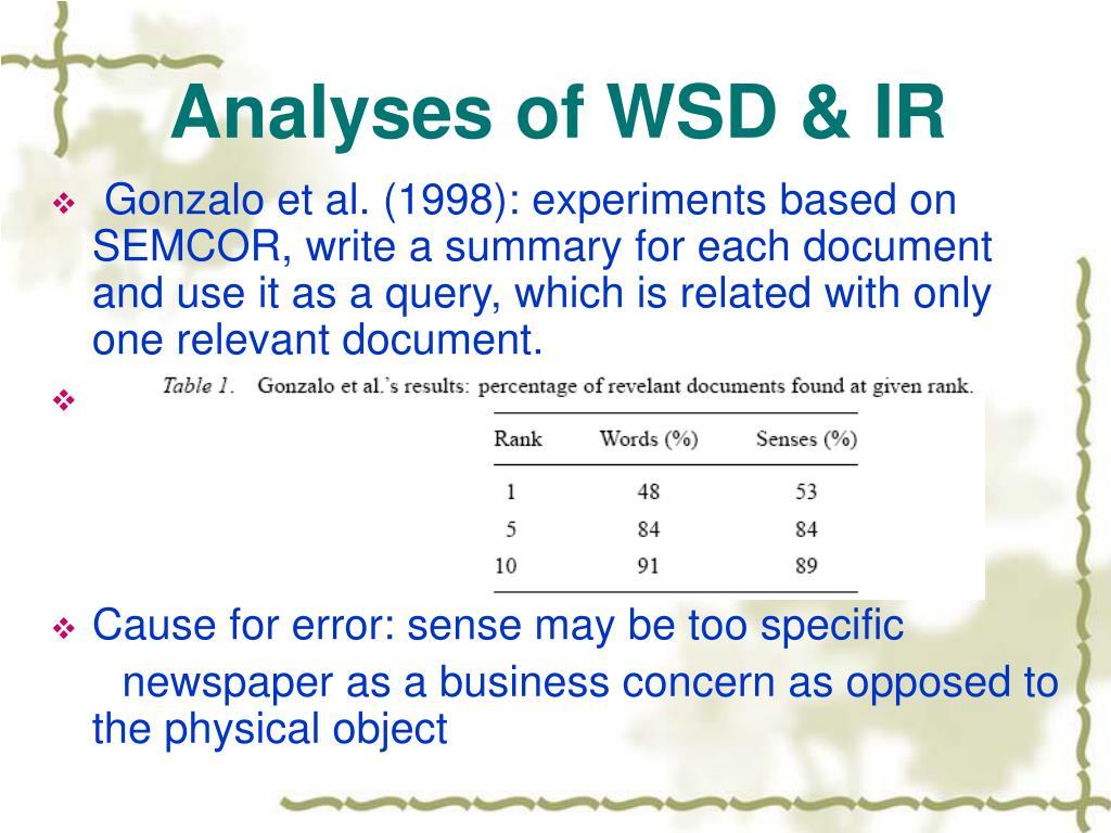 Analyses of WSD & IR