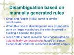 disambiguation based on manually generated rules9