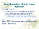 disambiguation without sense definition