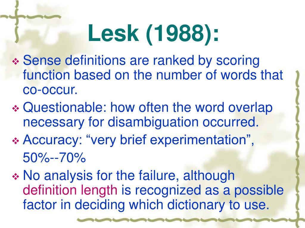 Lesk (1988):