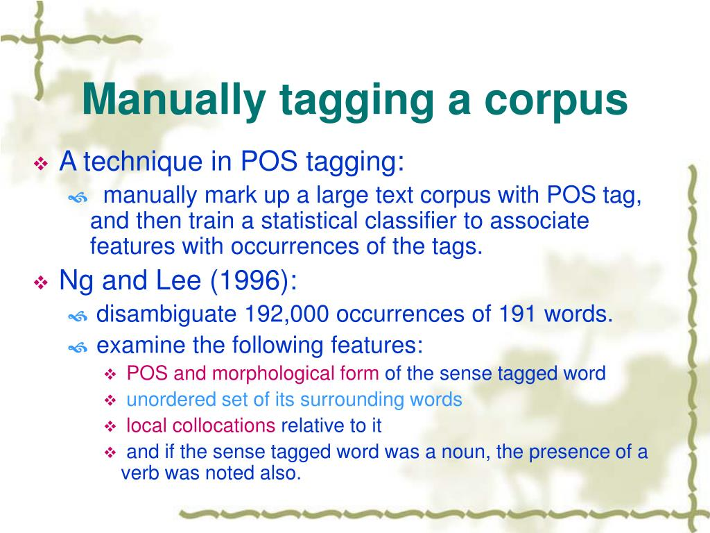 Manually tagging a corpus