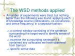 the wsd methods applied