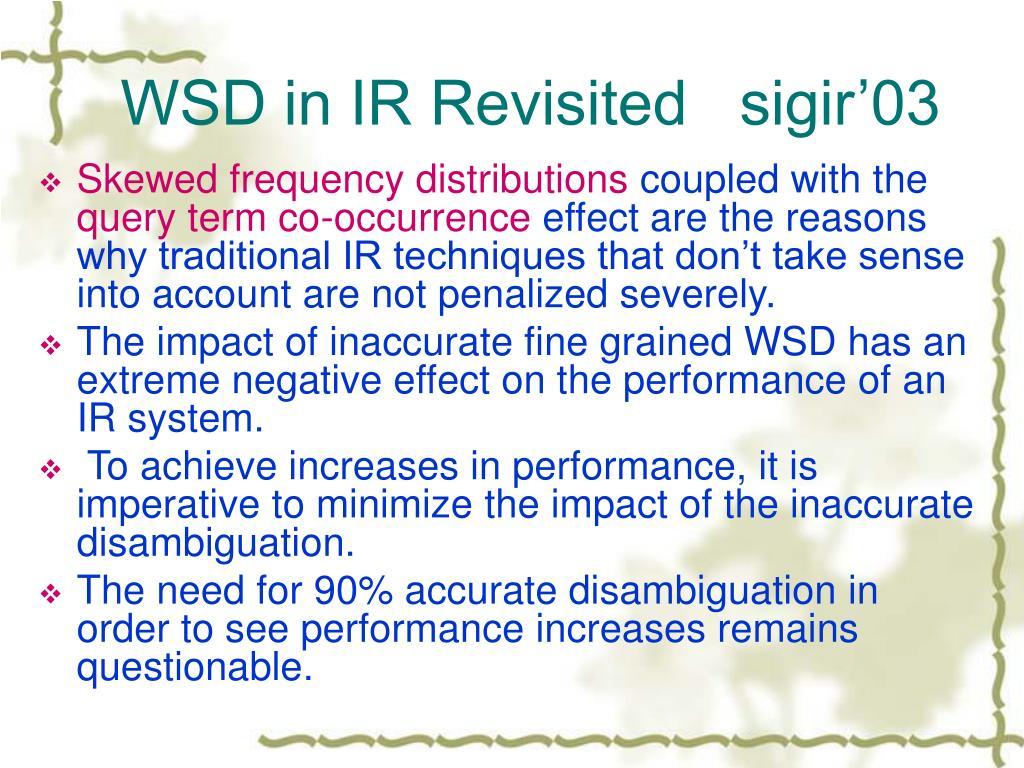 WSD in IR Revisited   sigir'03
