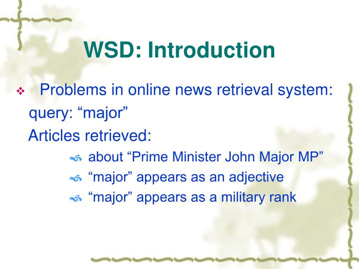 Wsd introduction