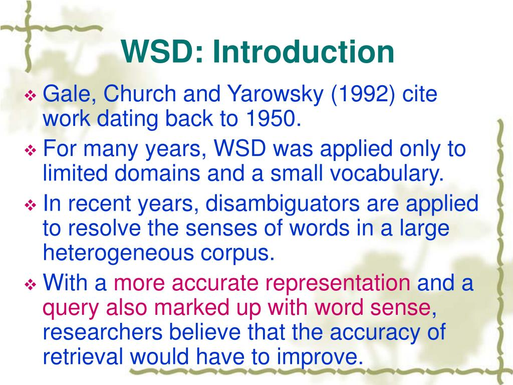 WSD: Introduction