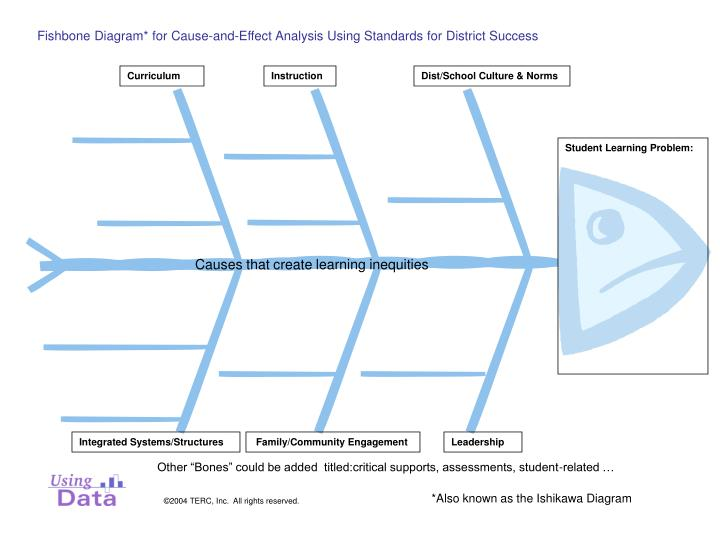 Fishbone diagram for cause and effect analysis using standards for district success