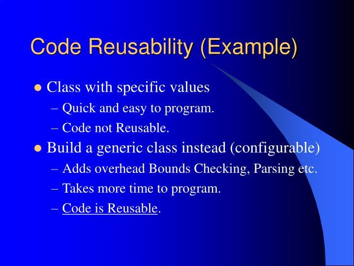 Code Reusability (Example)