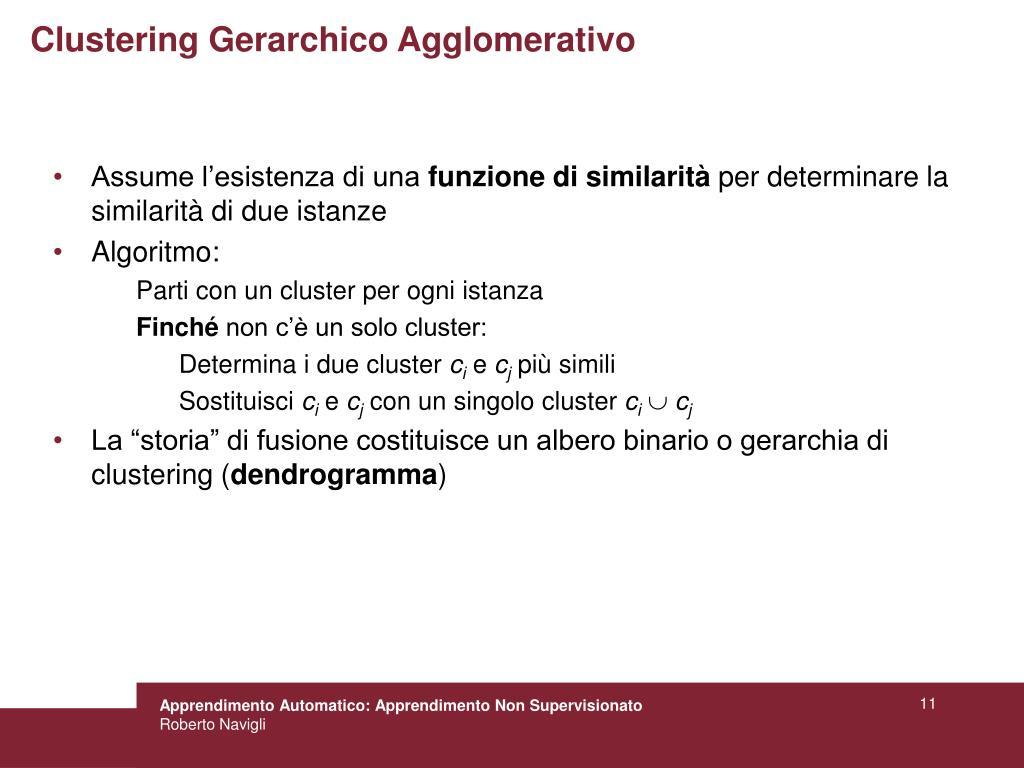 Clustering Gerarchico Agglomerativo