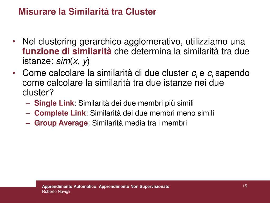 Misurare la Similarità tra Cluster