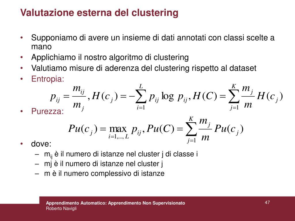 Valutazione esterna del clustering