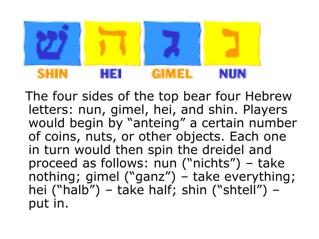 "The four sides of the top bear four Hebrew letters: nun, gimel, hei, and shin. Players would begin by ""anteing"" a certain number of coins, nuts, or other objects. Each one in turn would then spin the dreidel and proceed as follows: nun (""nichts"") – take nothing; gimel (""ganz"") – take everything; hei (""halb"") – take half; shin (""shtell"") – put in."