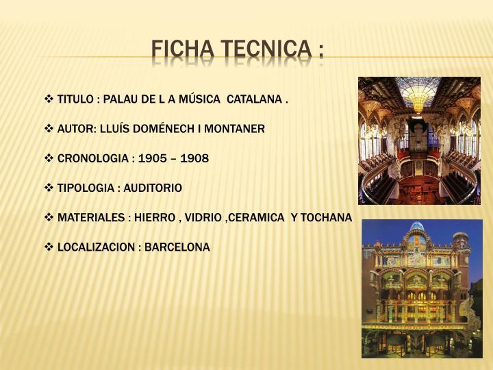 FICHA TECNICA :