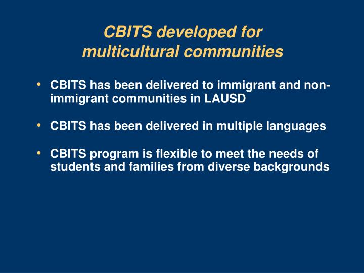 CBITS developed for