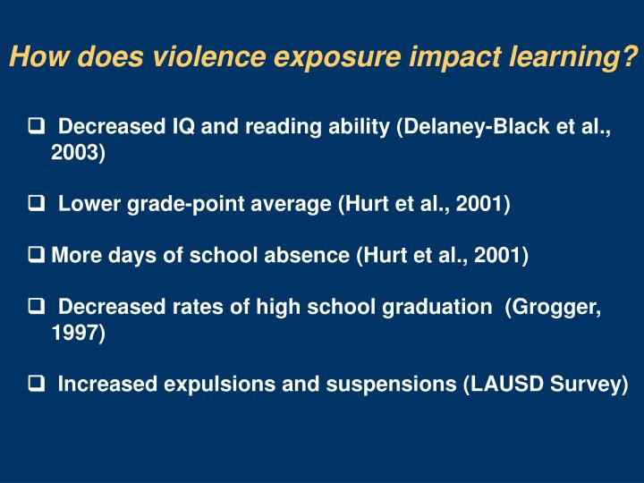 How does violence exposure impact learning?
