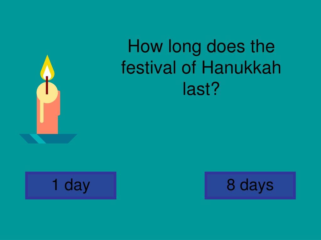 How long does the festival of Hanukkah last?