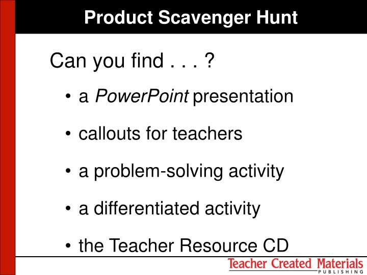 Product Scavenger Hunt