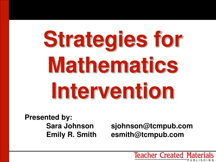Strategies for mathematics intervention