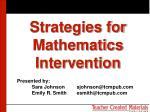 strategies for mathematics intervention
