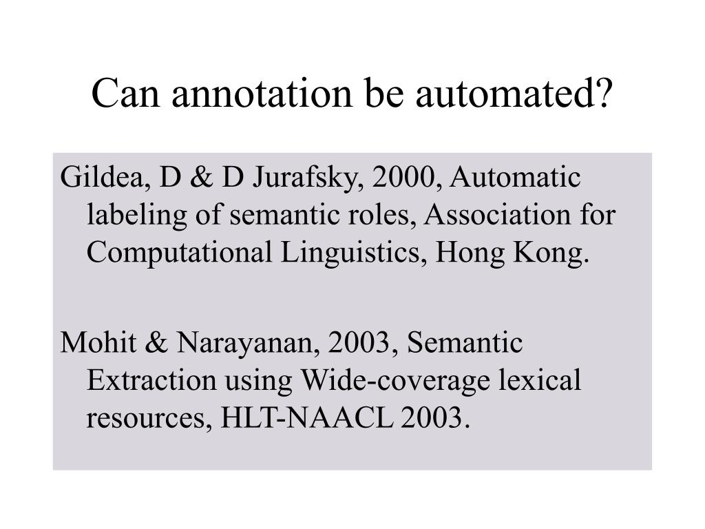 Can annotation be automated?