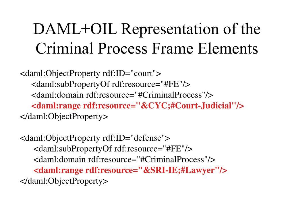 DAML+OIL Representation of the Criminal Process Frame Elements