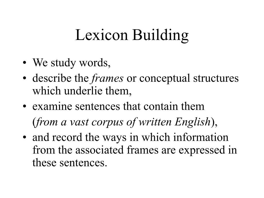 Lexicon Building