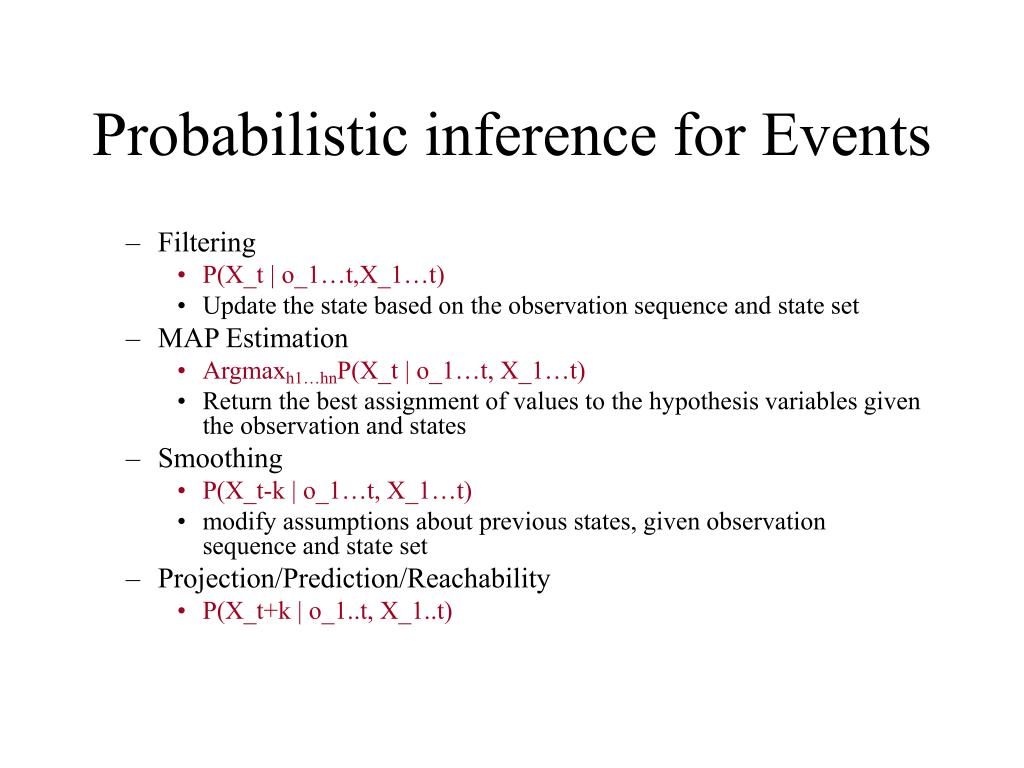 Probabilistic inference for Events
