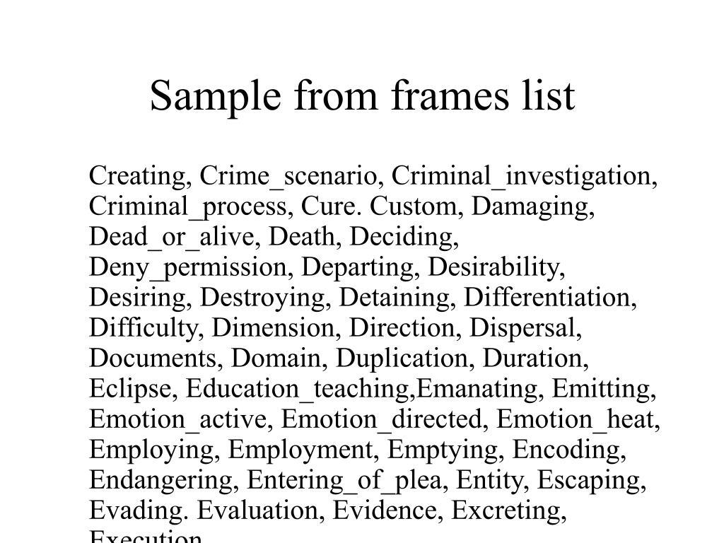 Sample from frames list