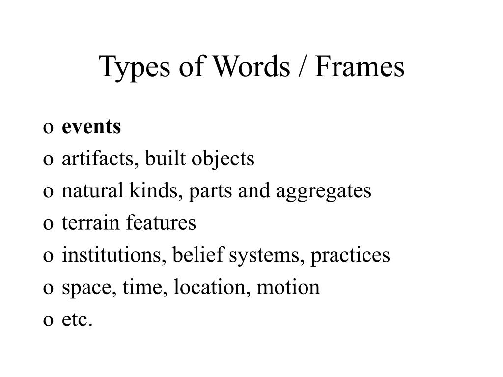 Types of Words / Frames