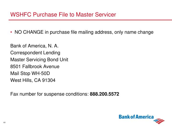 WSHFC Purchase File to Master Servicer